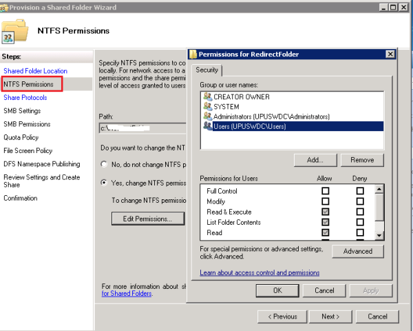 NTFS and permissions