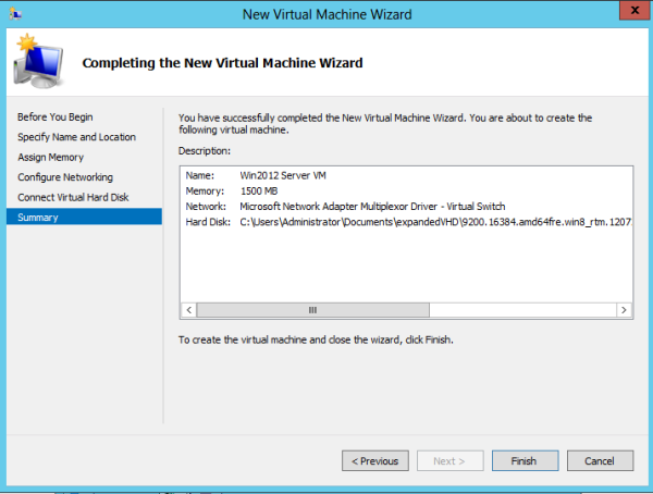Completing the new VM Wiz