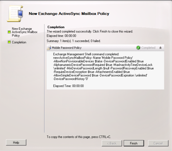 password policy for mobile device in exchange server | Ray's