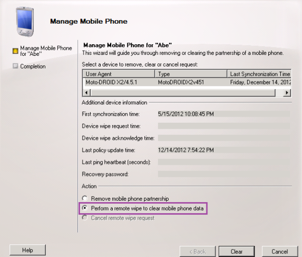 Perform remote wipe of mobile phone data
